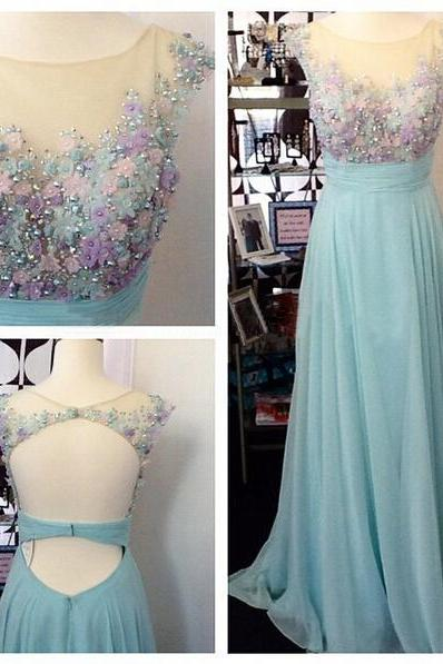 Lace Prom Dresses,Light Sky Blue Prom Dress,Modest Prom Gown,A Line Prom Gown,Evening Dress,Chiffon Evening Gowns,Party Gowns