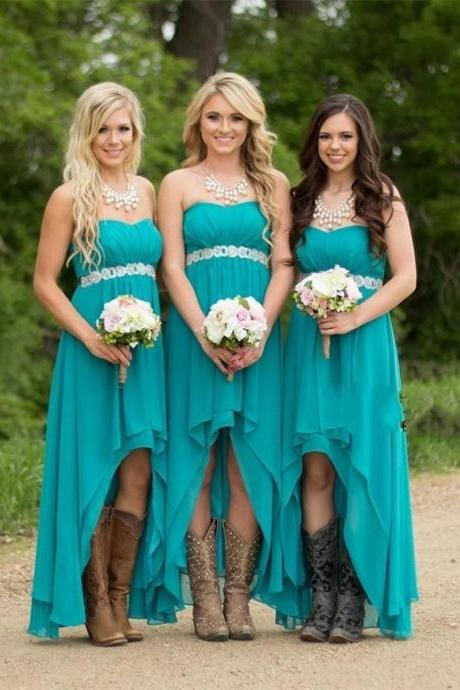 High-Low Chiffon Strapless Long Bridesmaid Dresses Beading A-line Wedding Party Gown Cheap Prom Dresses Plus Size