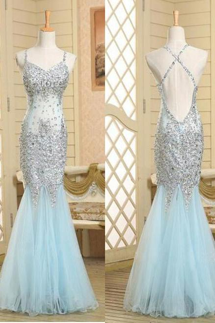 Light Blue Sequinned Embellished Plunge V Floor Length Mermaid Evening, Prom Dress Featuring Criss-Cross Open Back