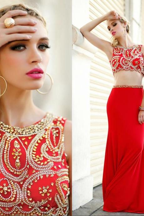elegant red long prom dress, 2 piece prom dress ,beaded prom dress long, women evening dress,pageant gown ,two piece prom dress, formal evening dress, prom party gown