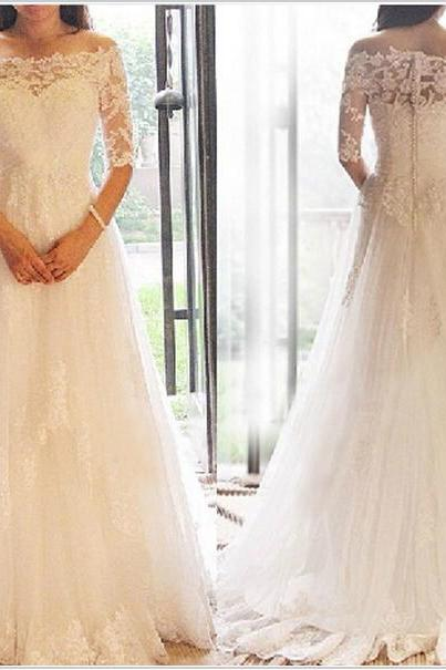 2017 New White/Ivory Wedding Dress,Custom Made Lace Bridal Gowns,Long Sleeves Elegant Wedding Gowns