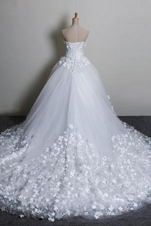 Train elegant plus size Sweetheart Flowers Lace Up Big Train boho wedding dresses Bridal Gowns