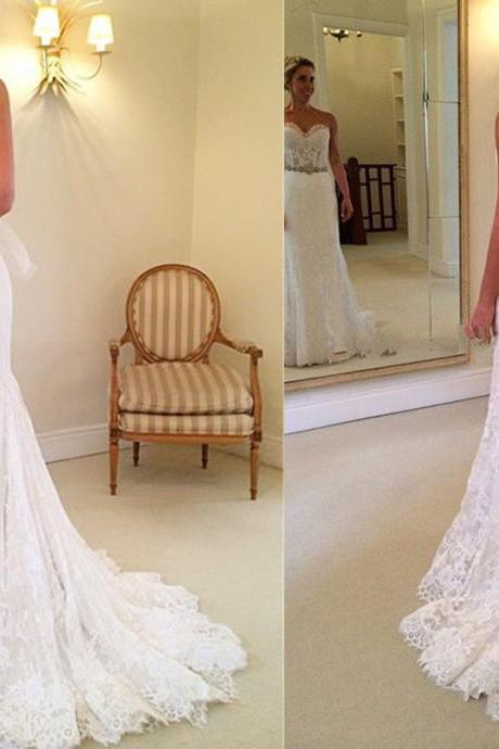 Lace Sweetheart Floor Length Trumpet Wedding Dress Featuring Beaded Embellished and Sweep Train