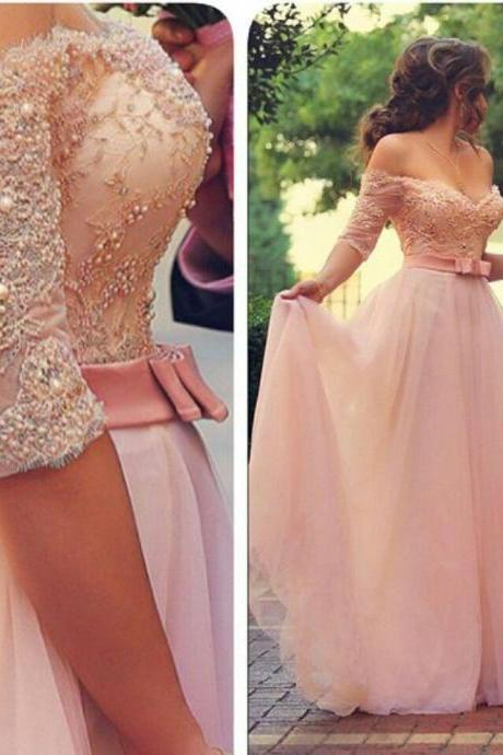 Custom Cheap A line Off the Shoulder Sweetheart Long Half Sleeves Pink Prom Dresses Gowns 2017, Formal Evening Dresses Gowns, Homecoming Graduation Cocktail Party Dresses, Holiday Dresses, Plus size