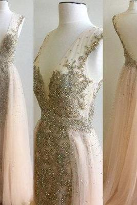 Sexy Long Prom Dress,Beading Prom Dress,Elegant Floor Length Prom Dress,Open Back Evening Dress