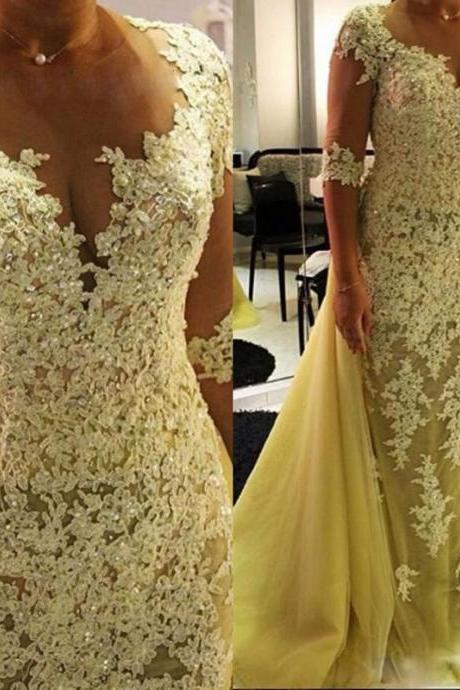 2017 New Sheath Evening Dress, Half Sleeve Prom Dress, Long Yellow Prom Dress, Appliqued Beaded Women Evening Prom Gowns,Custom Made Women Dress,Tulle Train Party Dress,Formal Evening Gowns