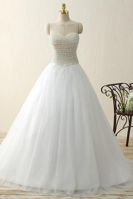 Sweetheart pearls satin tulle ball gown sweep train wedding bridal dress
