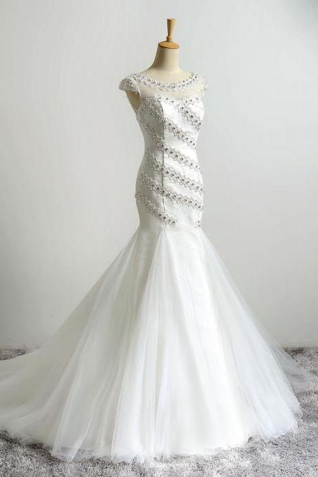Ivory Illusion Jewel Neckline Mermaid Wedding Dresses Long Vintage Beaded Wedding Bridal Gowns