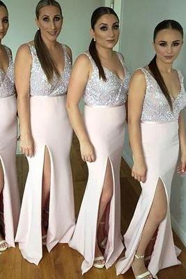 Long V Neck Bridesmaid Dresses,Beaded Sequin Bridesmaid Dresses,Long Mermaid Bridesmaid Dresses,Pink Bridesmaid Dresses with Slit,Bridesmaid Dresses Plus Size