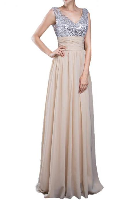 Chiffon Bridesmaid Dresses Long A Line V Neck Sleeveless Floor Length Sequined Party Gowns Skirt