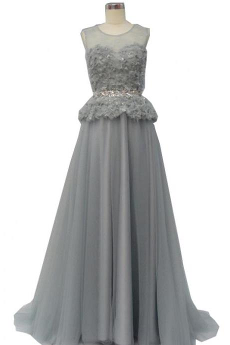Pretty Grey A-line Evening Dress, Appliques Evening Dress,Tulle Evening Dress ,Long Evening Dress,Evening Gown, Mother of Bride Dress,Formal Dresses