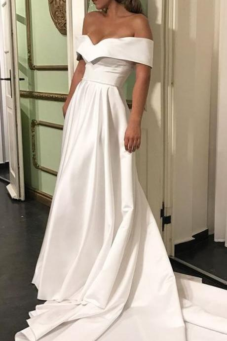 Romantic Off The Shoulder Wedding Dresses, Satin Wedding Dress, Court Train Bridal Wedding Dress, Simple Wedding Gown, Wedding Dress 2017