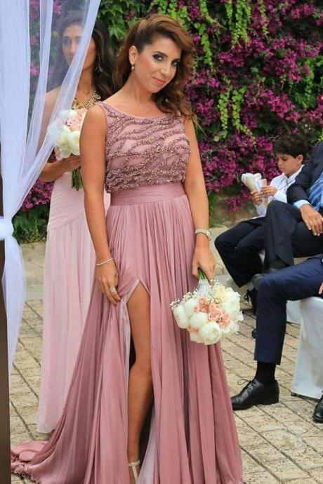 pink bridesmaid dress,chiffon bridesmaid dress,long bridesmaid dress,wedding party dress