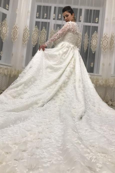 Luxury Wedding Dress , A-line Wedding Dress,Wedding Dresses,Wedding Dress,Wedding Gown,Bridal Gown,Bride Dresses, Long Sleeves Wedding Dress,Lace Wedding Gown,Flower Wedding Gown,Beaded Bridal Dress.Ivory Bridal Gown