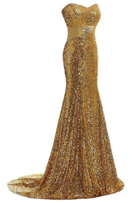 Custom Made Gold Sweetheart Neckline Long Bridesmaid Dress with Sequin and Crystal Beading, Prom Dress