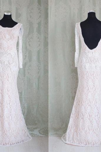 Charming Prom Dress,Lace Prom Dress,Mermaid Prom Dress,Long-Sleeves Evening Dress