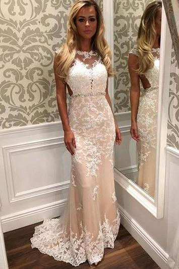 Lace Appliqués Sleeveless Floor Length Trumpet Wedding Dress Featuring Beaded Belt and Sweep Train