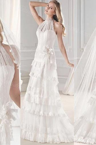 Lace High Halter Neck Floor Length Ruffle Tiered A-Line Wedding Dress