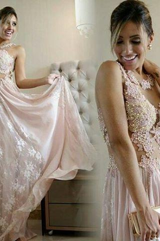 Prom GownLace Pink Long Formal Dresses 2017 Pearls A-line Chiffon Evening Gown