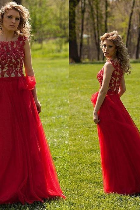 Custom Made Red Sleeveless A-Line Tulle Prom Dress Featuring Lace Applique