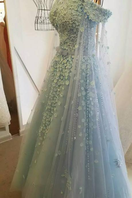 Wedding Dress,Wedding Gown,Bridal Gown,Bride Dresses, Long Wedding Dresses,Wedding Dress With Flowers,Off-shoulder Wedding Gown,Beading Bridal Dresses,Ball Gown Wedding Gown,Light Blue Wedding Dress