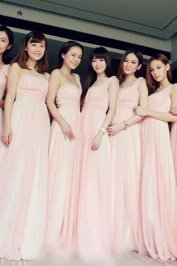 Charming Chiffon One Shoulder Floor Length Bridesmaid Dresses, Bridesmaid Dresses, Prom Dresses, Wedding Party Dresses, Bridesmaid Dress,