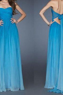 blue prom dress, long prom dress, 2017 prom dress, chiffon prom dress, custom prom dress,