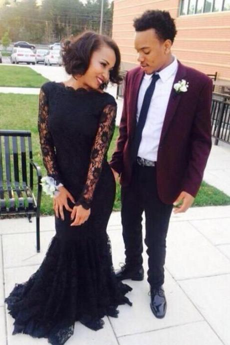 Black Prom Dresses,Mermaid Prom Dress,Lace Prom Dress,Lace Prom Dresses,2017 Formal Gown,Long Sleeves Evening Gowns,Party Dress,Lace Prom Gown For Teens