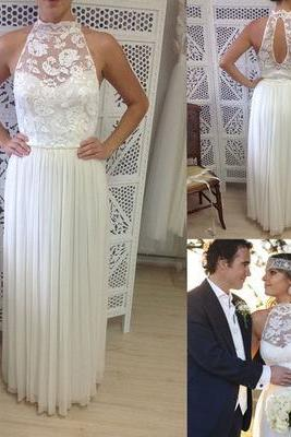 Lace High Halter Neck Floor Length Chiffon A-Line Wedding Dress