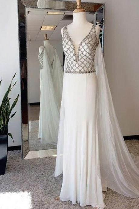 Ivory Chiffon Prom Dresses,Mermaid Prom Dresses,Deep V-neck Prom Dresses,Backless Prom Dresses,Beaded Prom Dresses,Elegant Prom Gowns,Party Dresses,Women Dresses,Evening Dresses,Cute Dresses