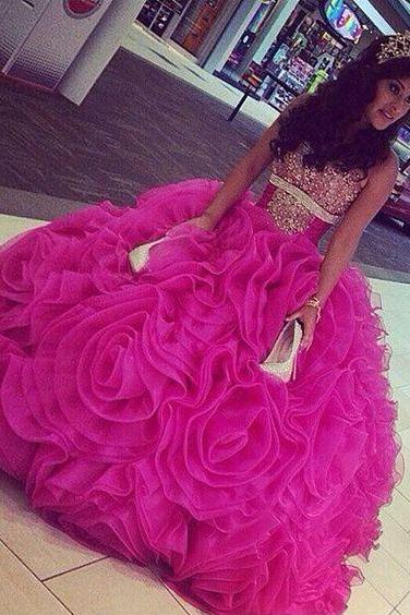 Modest Quinceanera Dress,Beaded Ball Gown,Fashion Prom Dress,Sexy Party Dress,Custom Made Evening Dress