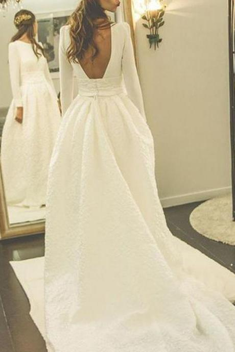 Bateau Neck Long Sleeves Floor Length A-Line Wedding Dress Featuring Open Back and Court Train
