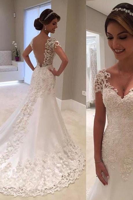 Vintage Lace Cap Sleeves Nude Back Princess Wedding Dresses 2017