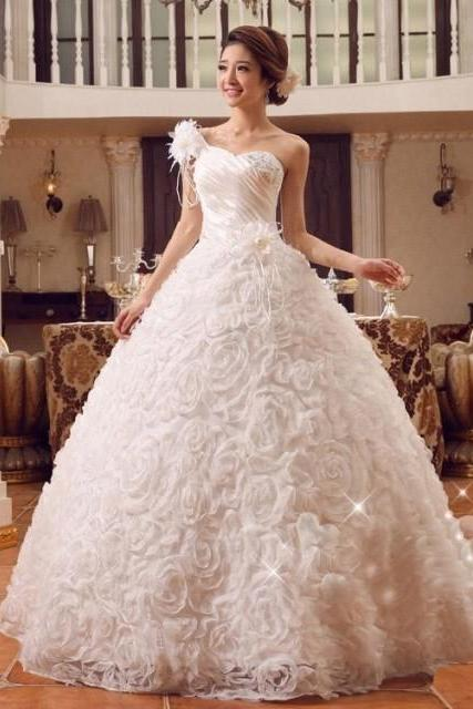 A-line/Princess One-shoulder Sleeveless Hand-made Flower Floor-length Organza Wedding Dresses