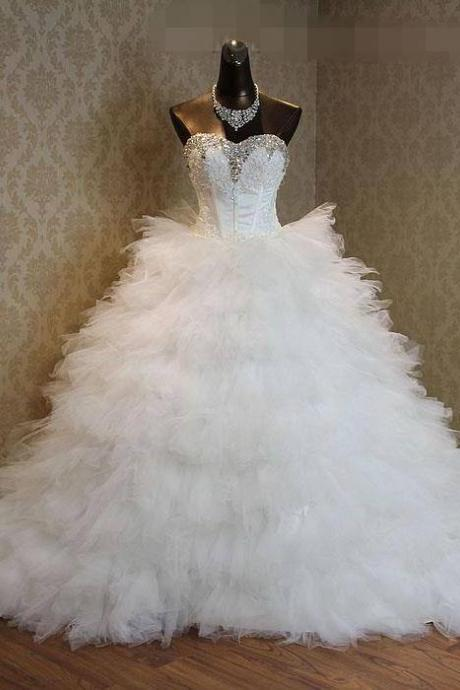Actual Photo Sweetheart Ball Gown Wedding Dresses Crystal Beaded Tulle Pleated Court Train Wedding Dress Bridal Dresses white Ivory Custom Cheap