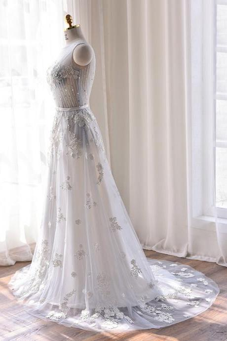Ivory tulle a-line beautiful beaded crystal pattern sexy backless wedding dresses prom dress