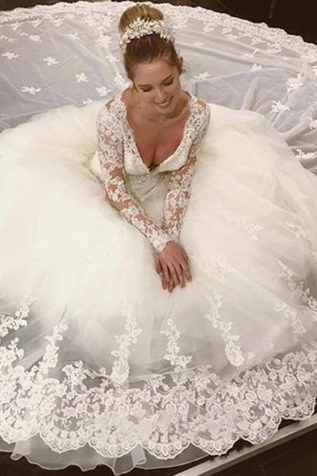Bridal Dresses, 2017 Wedding Dresses, Sexy V-Neckline Wedding Dress,Ball Gown Wedding Dresses, Lace Wedding Dresses, Long Sleeves Wedding Dress, Bridal Gowns, Full Sleeve Lace Wedding Gowns,Vintage Tulle Wedding Gowns, Bridal Dresses, Wedding Party Dresses, Custom Made
