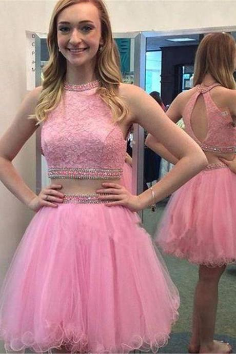Beaded Prom Dress,Halter Prom Dress,Two Pieces Prom Dress,Fashion Homecoming Dress,Sexy Party Dress, New Style Evening Dress
