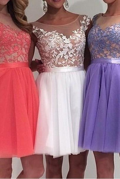 Ulass Charming Tulle And Appliques Short Graduation Dresses,Sleeveless Homecoming Dresses, Homecoming Dress