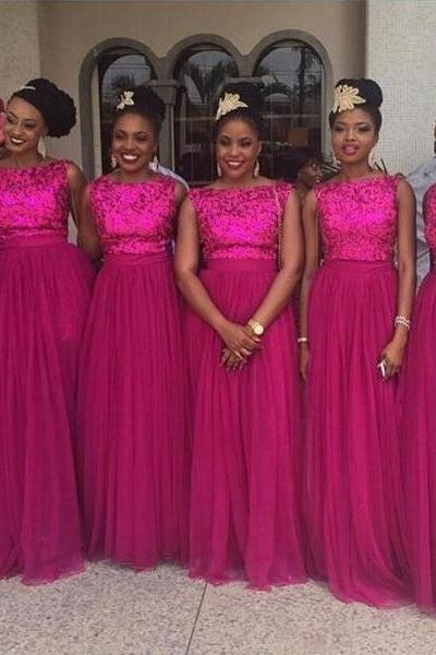 Customisable Pink Sequin Floor Length Tulle Bridesmaid Dresses