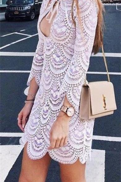 Long Sleeve Prom Dress,Hollow Prom Dress,Mini Prom Dress,Fashion Prom Dress,Sexy Party Dress, 2017 New Evening Dress