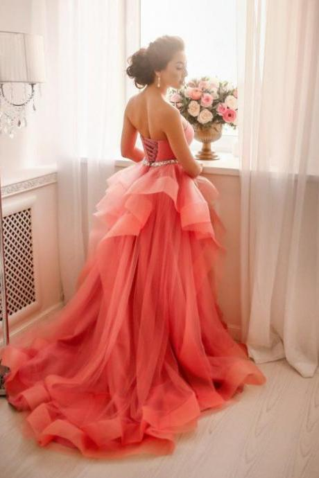 Sweetheart Natural Tiers A-line Tulle Prom Dresses 2017