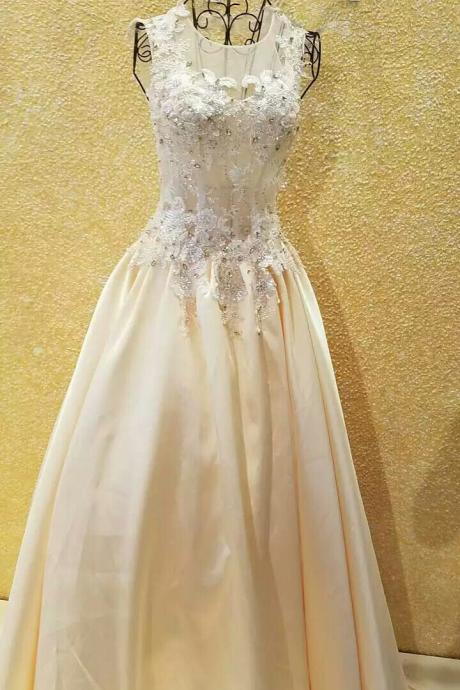 Wedding Dress,Wedding Gown,Bridal Gown,Bride Dresses, Gold Wedding Dresses,A-line Bridal Dresses,Lace Wedding Dress,Applique Wedding Gown,Open Back Wedding Dresses