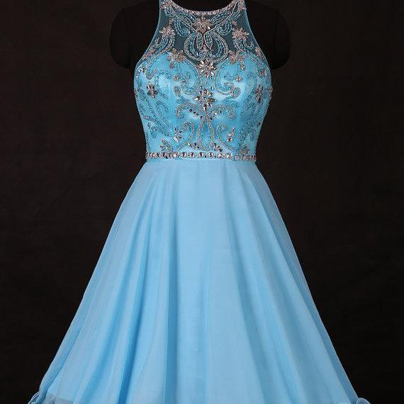 Sexy Blue Short Prom Dress, Backless Graduation Dress,Short Prom Dresses,Short Dress,2016 Prom Dresses,Vintage Prom Dresses, Party Dresses, Homecoming Dresses