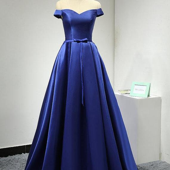 Off the Shoulder Royal Blue Satin Formal Prom Party Dress