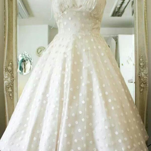 Vintage Polka Dots Tea Length Wedding Dress