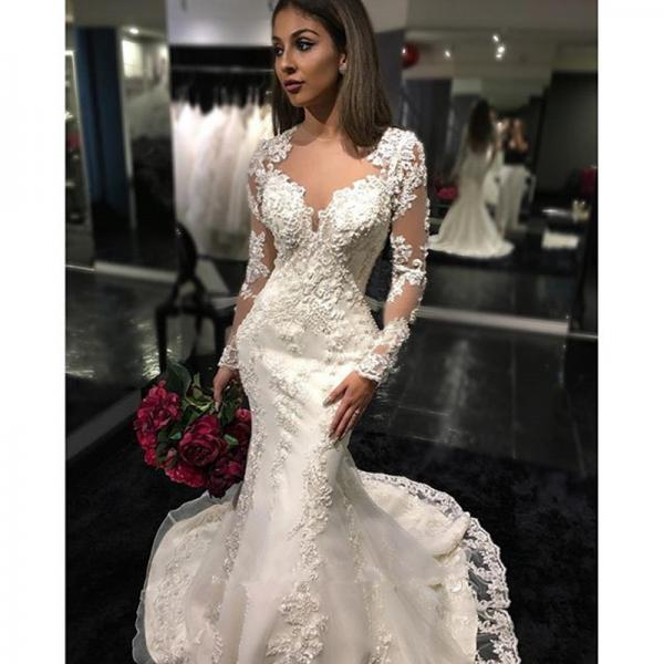 White Lace Wedding Dresses Long Sleeve Applique Wedding Gowns