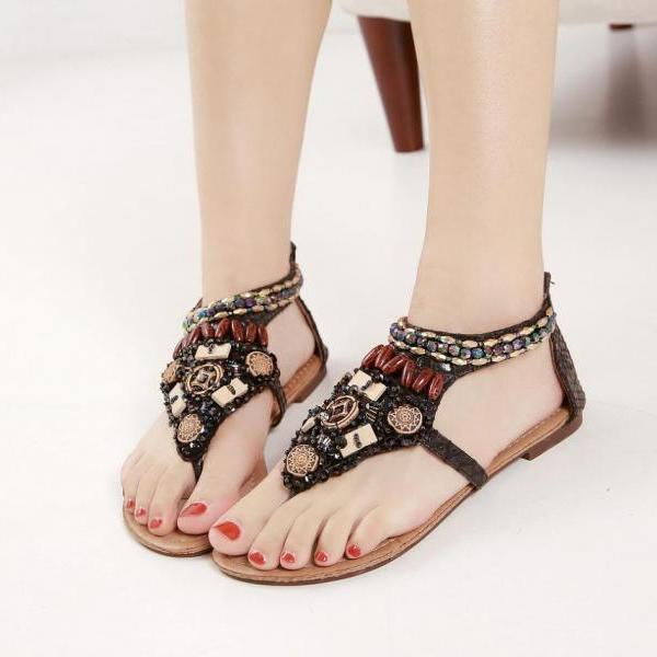Retro bohemian national wind diamond slope with flat sandals sexy shoes