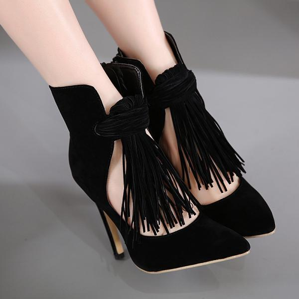 Pointed Toe Tassel High Heel Pumps, Bridal Shoes