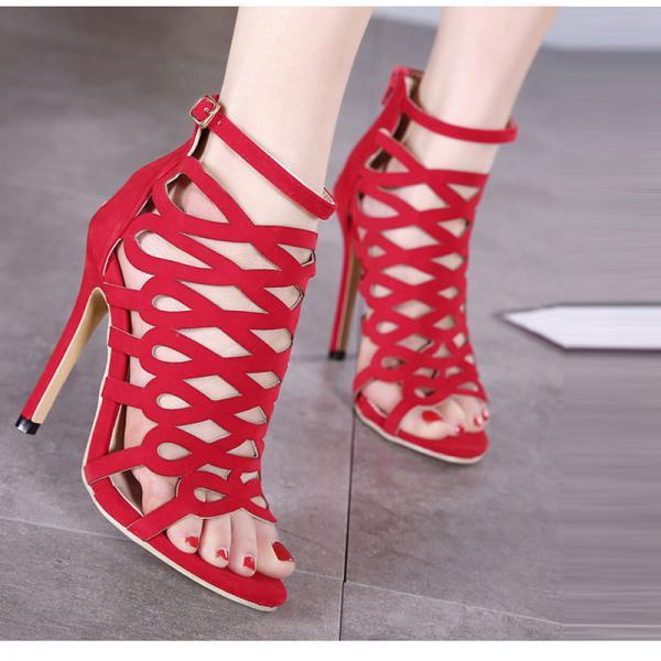 Peep-Toe Hollow-Out Back Zipper Ultra High Heels Sandals